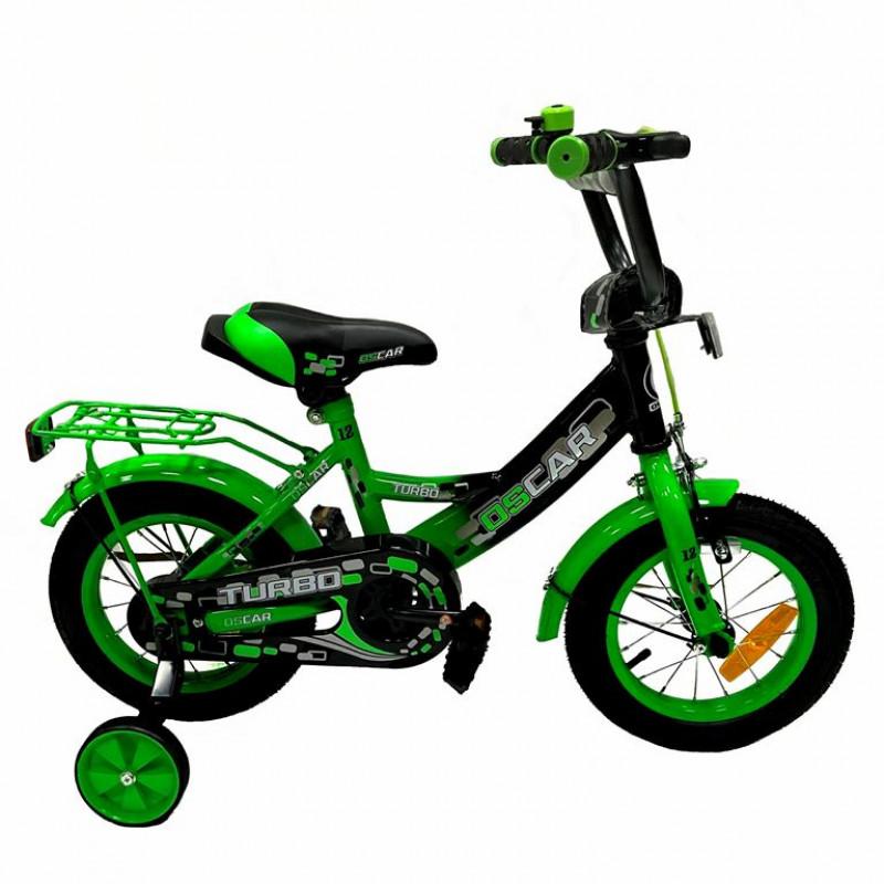 Велосипед 14 OSCAR TURBO Black-GREEN (черный/зеленый)  АКЦИЯ!!! 2021